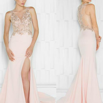 Colors 1692 Beaded Sheer Top with Leg Slit Prom Evening Dress