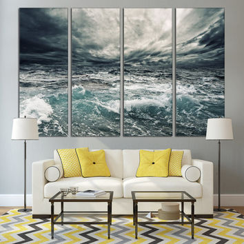 Beach Print Travel Wall Art Gift For Him / Beach Fine Art 4 Panel Cottage Decor Nature Canvas / Coastal Home Wall Decor Unique Sea Art Gift