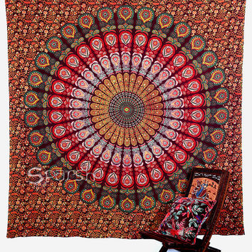 TWIN hippie Tapestry,maroon coloured Mandala Hippie Tapestry, Hippie Boho Wall Hanging, Indian Bedspread Bed Sheet Cover, Bohemian Bedspread