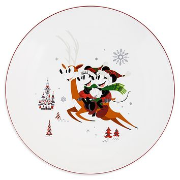 Disney Parks Santa Mickey and Friends Nordic Winter Holiday Dinner Plate New
