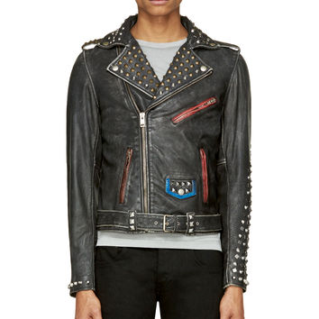 Diesel Black Distressed Studded Leather L-sneh Biker Jacket