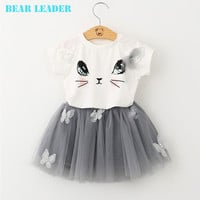 Bear Leader Girls Clothing Sets  Summer Fashion Style Cartoon Kitten Printed T-Shirts+Net Veil Dress 2Pcs Girls Clothes
