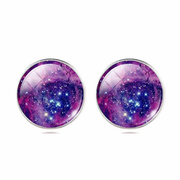 Vintage Glass Cabochon Galaxy Stud Earrings - Save 50%!