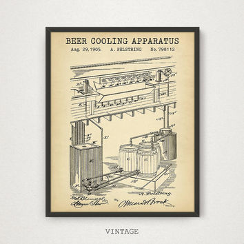 Beer Poster Printable, Beer Cooling Apparatus, Blueprint Art, Beer Wall Art, Bar Decor, Beer Party Decorations, Beer Invention, Gift For Him