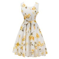Fashion 2017 Women Dresses Elegant O-neck Sleeveless Casual Vintage Print Dresses with Bow-knot Party Dress