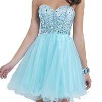 VILAVI Women's A-line Sweetheart Short Tulle Rhinestone Homecoming Dresses