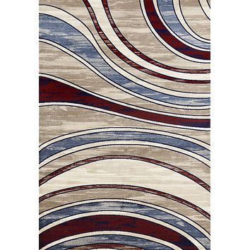 4072 Beige Red Modern Abstract Contemporary Area Rugs