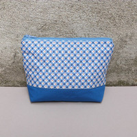 Cosmetics Bag, Blue and White Geometric Fabric, Pretty Blue Makeup Bag, Eco-friendly Medium Zipper Pouch, Modern Bright Purse