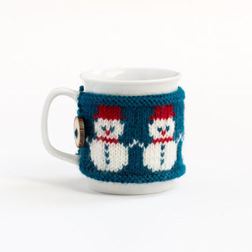 Cup Cozy with Snowman, Knitted Mug Cozy, Coffee Cozy, Tea Cup Cozy, Handmade Wooden Button, Coffee Cozy Sleeve, Christmas, Gift