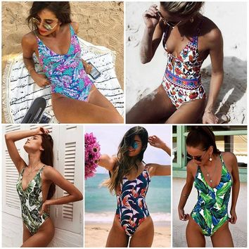 One Piece Swimsuit 2018 Sexy Cross Back Swimwear Women Swimsuit Vintage Retro Bathing Suits Beach Wear Swim Print Monokini S-XL