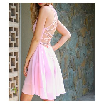 Baby Pink Lace Up Back Chiffon Skater Dress