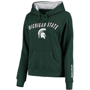 Women's Green Michigan State Spartans Arch & Logo 1 Pullover Sweatshirt