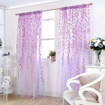 Leaves Print Design Sheer Room Curtain Pattern Voile Panel Drape Window Curtains