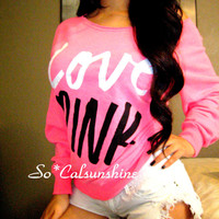 Victoria's Secret PINK LOGO Off Shoulder Sexy Sweatshirt Crew Sweater Top XS S