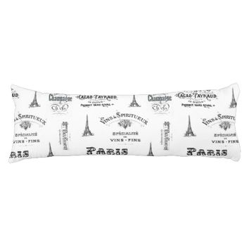 Paris Label Collage Body Pillow