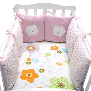100%Cotton Infant Bedding Bumper Newborn Kids Crib Baby Nursery Bumper Baby Bed Protector Toddler Cartoon Crib Bedding Bumper