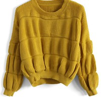 Funny Quilted Sweater in Mustard