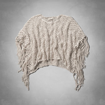 Open Stitch Poncho Sweater