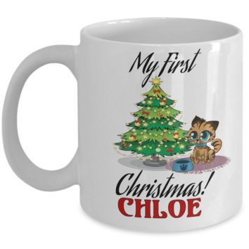 *Attention Cat Moms* Turn your Mugs into a piece of Purrrfect Cat Mom Art! First Christmas Personalized Cat Name Christmas Kitten Mug Gift For Cat Lovers