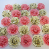 "Pink and Sheet Music paper roses, 25 pieces, 1.5"" flowers floral Table topper decor baby shower, wedding, event decorations, party supplies"