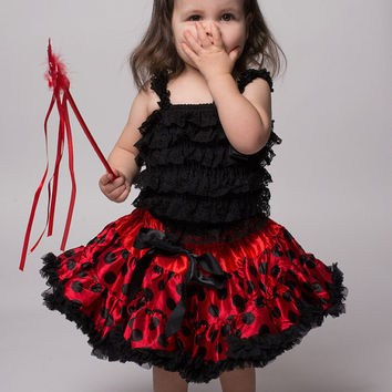 Ladybug Premium Pettiskirt, Black Lace Romper, and Fancy Feather Flapper Girl Headband Set