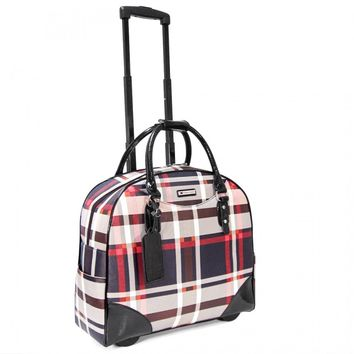 "Cabrelli Women's 15.6"" Rolling Laptop Bag - Retro Plaid Rollerbrief - Laptop Bags"