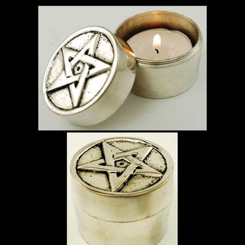 Pentagram Pewter Screw Top Tealight Candle Holder