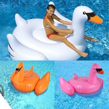 ac NOOW2 1.5M Summer Kids Toys Swan Float Pool Swim Ring Water Fun Baby Toys Boat Inflatable Donut Circle Ride-on Lap Swimming Float  Toy
