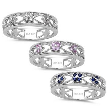 14K White Gold Blue Pink Sapphire Ethically Mined Diamond Heart Filigree Wedding Band