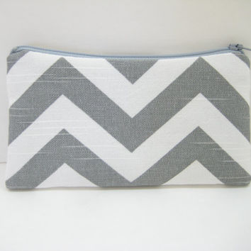Gray Chevron Pouch, Accessory Pouch, Mobile Phone Case, Gadget Pouch