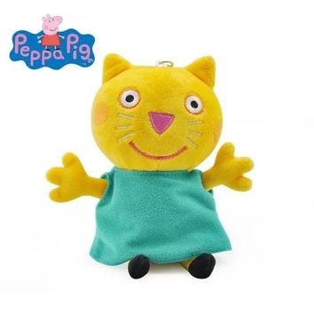1pc Genuine Peppa Pig Peppa Pig Plush Candy Cat Friend green dress high quality Stuffed Animal 6'' 19cm