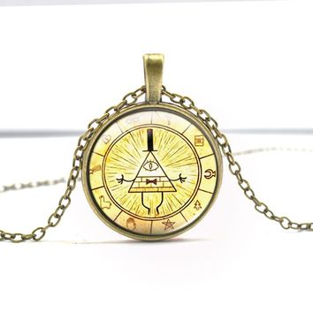 Bronze Silver Round glass Necklace Steampunk Drama Gravity Falls Mysteries BILL CIPHER WHEEL Time Gems Pendant Necklace Jewelry