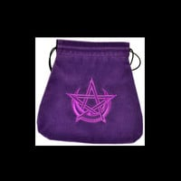 "Royal Purple Pentagram Star & Pagan Moon Tarot Bag by Lo Scarabeo 6"" x 9"""