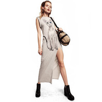 Gray Cat Print Side Slit Cuffed Sleeves Maxi Dress