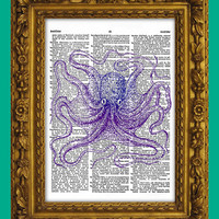 Dictionary Art Print Purple Octopus Cephalopod by DictionaryArtPrintz