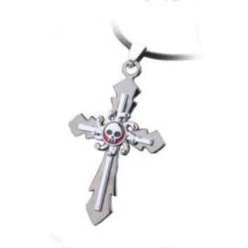 Anime Skull Cross on Leather Necklace
