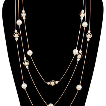 Octagon Pearl Chain Necklace