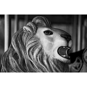 Carousel Lion - Black and White Photograph (A0000861)