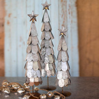 (Set of 3) Galvanized Trees  with Star Finial
