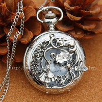 silver Alice in Wonderland Pocket Watch Necklace Jewelry Pendant men's gift