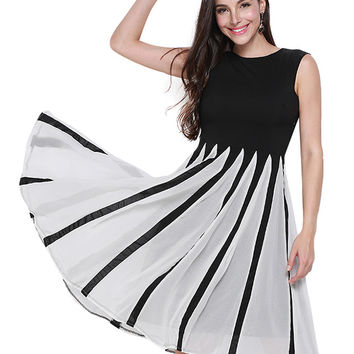 Color Block Sleeveless Striped Dress with Back Keyhole