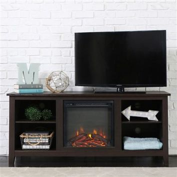 Espresso Wood 58-inch TV Stand Electric Fireplace Space Heater (Free shipping within the contiguous U.S.)