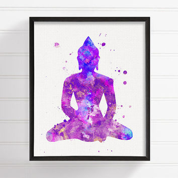 Watercolor Buddha, Buddha Art Print, Buddha Painting, Buddha Poster, Yoga Art, Meditation Art, Zen Wall Art, Buddhist Art, Spiritual Art