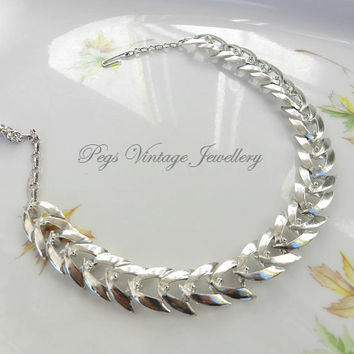 Vintage Silver Tone Link Choker Style Necklace/Statement Jewelry Jewellry Wedding Party, Prom Gift for Her, Birthday