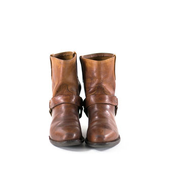 Harness Boots Brown Leather Short MOTO Cowboy Biker Rocker Edgy Booties Womens Size 7