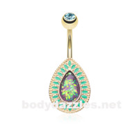Purple Golden Chakra Sparkling Opal Belly Button Ring 14ga Navel Ring Body Jewelry