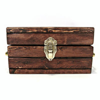 Handmade Rustic Wooden Jewelry Box - Keepsake Box with Vintage Brass Handles