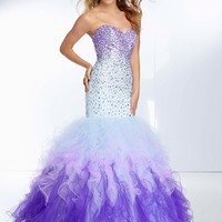 Paparazzi dress - Sugar Rush, Berry Blast - 95084 Ombre Beading on Ruffled Tulle Mermaid Gown
