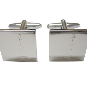 Silver Toned Etched Nautical Lighthouse Cufflinks