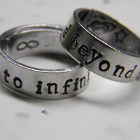 PRE-ORDER to infinity and beyond two aluminum wrapped style  rings 1/4 inch